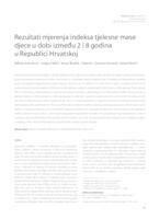 Rezultati mjerenja indeksa tjelesne mase djece u dobi između 2 i 8 godina u Republici Hrvatskoj