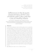 Differences in the Acoustic Characteristics of the Cries of Infants with Colics and the Cries of Healthy Infants